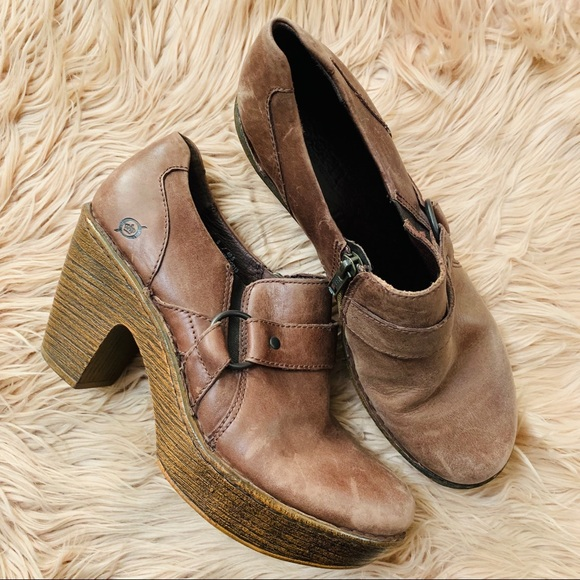 Born Shoes - Born | Brown Leather Heeled Clog Bootie - Size 9